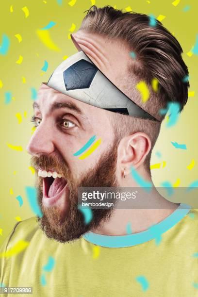 Swedish soccer fan with football inside the head