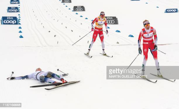 Swedish Stina Nilsson wins first place in front of second place Norwegian Therese Johaug and thrid place Norwegian Ingvild Flugstad Oestberg during...
