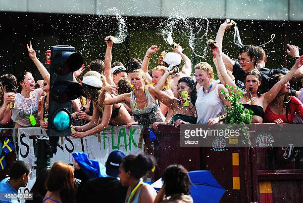 Swedish students celebrating graduation
