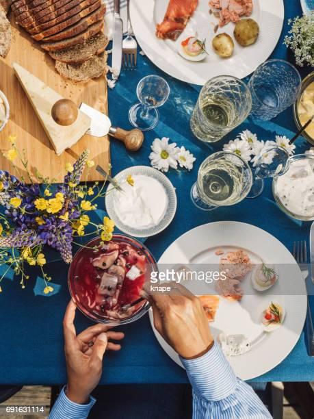 Zweedse zomer Midsommar Midsummer viering diner