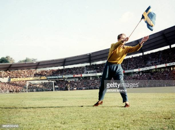 A Swedish supporter waves the Swedish national flag while he stands on the pitch at the Ullevi Stadium in Goteborg Sweden 24 June 1958 in front of...