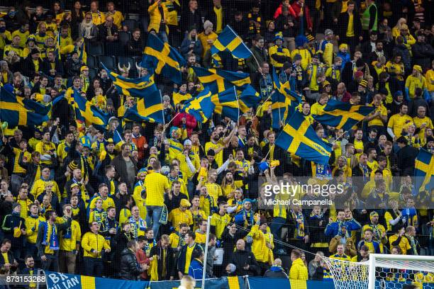 Swedish supporters during the FIFA 2018 World Cup Qualifier PlayOff First Leg between Sweden and Italy at Friends arena on November 10 2017 in Solna...