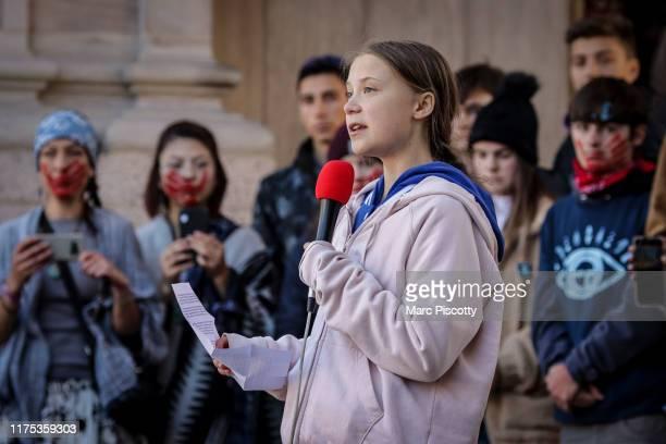 Swedish teen activist Greta Thunberg speaks at the Fridays For Future Denver Climate Strike on October 11 2019 at Civic Center Park in Denver...