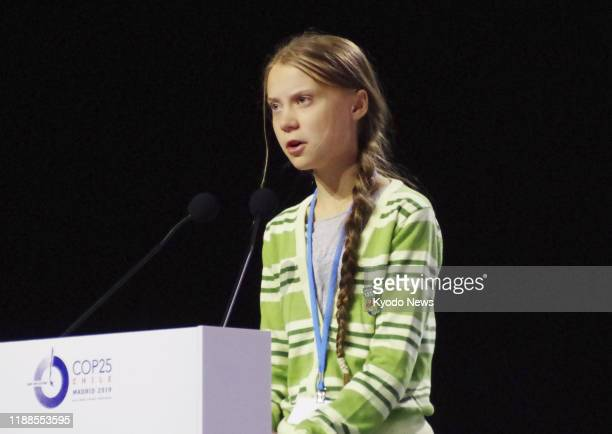 Swedish teen environmental activist Greta Thunberg delivers a speech at an event in Madrid on Dec. 11 held at the venue of the 25th session of the...