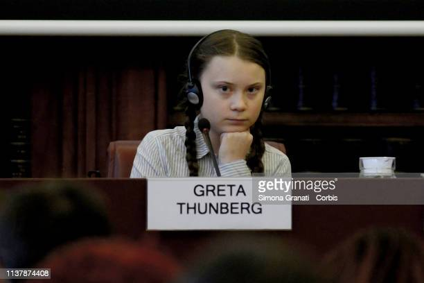 Swedish teenage climate activist Greta Thunberg takes part in a seminar on climate at the Italian Senate on April 18 2019 in Rome Italy Greta...