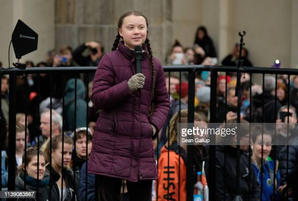 Swedish teenaged climate activist Greta Thunberg speaks at a Fridays for Future protest gathering on March 29 2019 in Berlin Germany According to...