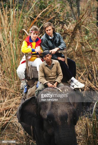 Swedish tennis legend Bjorn Borg with his wife tennis player Mariana Simionescu in Nepal January 29 1983