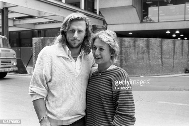 Swedish tennis player Bjorn Borg and his Romanian fiancee Mariana Simionescu at London's Heathrow Airport