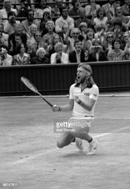 Swedish tennis player Bjorn Borg celebrates on Centre Court after defeating John McEnroe of United States,1-6, 7-5, 6-3, 6-7, 8-6 in the final of the...