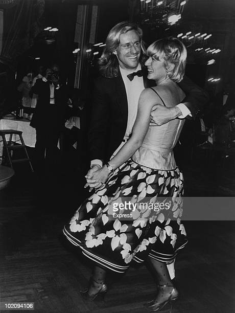 Swedish tennis player Bjorn Borg dancing with Romanian tennis player Mariana Simionescu circa 1980