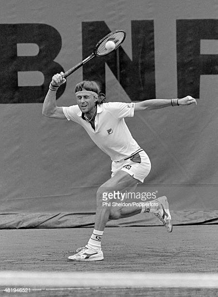 Swedish tennis player Bjorn Borg in action competing to reach the final and win the Men's Singles tournament to become champion at the 1980 French...