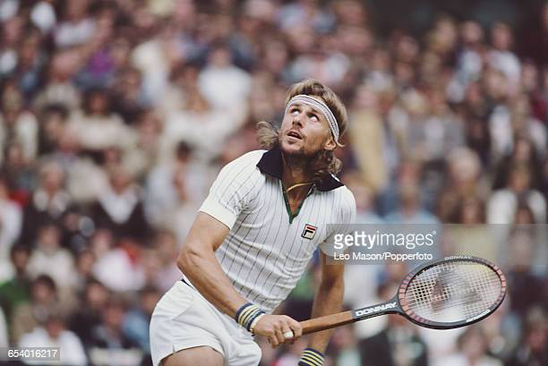 Swedish tennis player Bjorn Borg in action during competition to reach the final of the Men's Singles tournament before losing to John McEnroe, 4-6,...