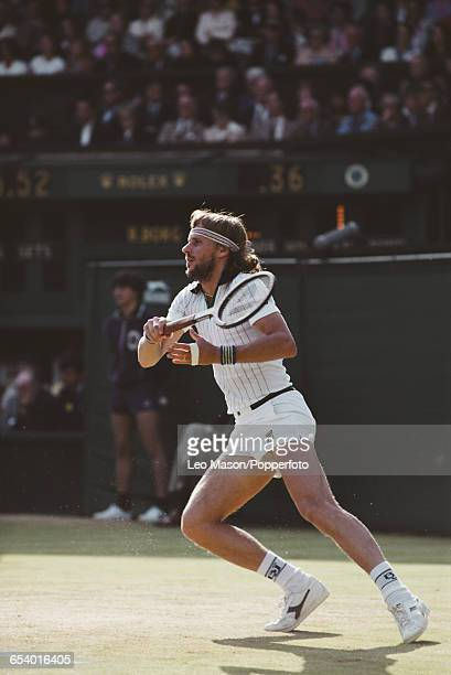 Swedish tennis player Bjorn Borg in action during competition to reach the final of the Men's Singles tournament before losing to John McEnroe 46 76...