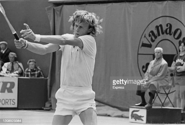 Swedish tennis player Bjorn Borg in action during the 1973 John Player Tournament at the Nottingham Tennis Centre in Nottingham Nottinghamshire...