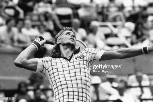 Swedish tennis player Bjorn Borg on the court during a match mid to late 1970s