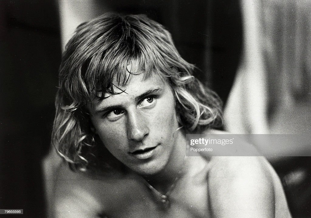 June 1973, Wimbledon Lawn Tennis Championships, Sweden's new sensation, 17 year old Bjorn Borg, pictured after a training session