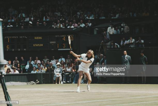 Swedish tennis player Bjorn Borg pictured in action against Roger Taylor of Great Britain in the quarterfinals of the Men's Singles tournament at the...