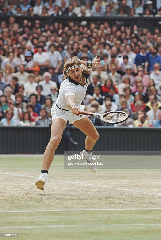 Swedish tennis player Bjorn Borg pictured in action competing to reach and win the final of the Men's Singles tournament against John McEnroe, 1-6, 7-5, 6-3, 6-7,8-6 at the Wimbledon Lawn Tennis Championships at the All England Lawn Tennis Club in Wimbledon, London in July 1980.