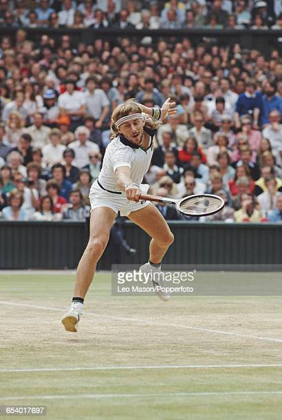 Swedish tennis player Bjorn Borg pictured in action competing to reach and win the final of the Men's Singles tournament against John McEnroe, 1-6,...