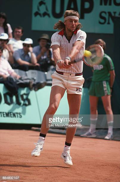 Swedish tennis player Bjorn Borg pictured in action competing to reach the final and win the Men's Singles tournament to become champion at the 1979...