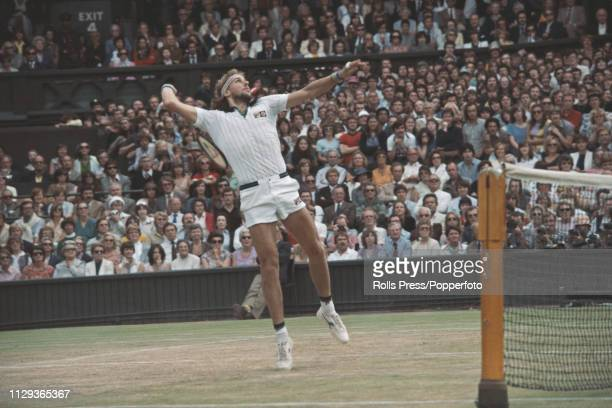Swedish tennis player Bjorn Borg pictured in action during play to beat John McEnroe of United States, 1-6, 7-5, 6-3, 6-7, 8-6 in the final of the...