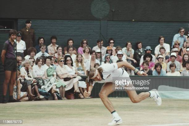 Swedish tennis player Bjorn Borg pictured in action during play to beat American tennis player Jimmy Connors 62 63 62 in the semifinals of the Men's...