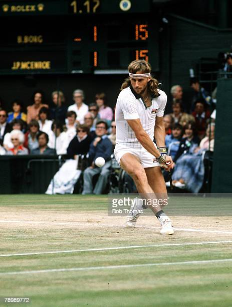 Swedish tennis player Bjorn Borg pictured in action during play to win the final of the Men's Singles tournament against John McEnroe, 1-6, 7-5, 6-3,...