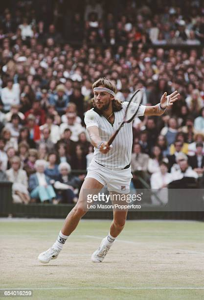 Swedish tennis player Bjorn Borg pictured in action during competition to reach the final of the Men's Singles tournament before losing to John...