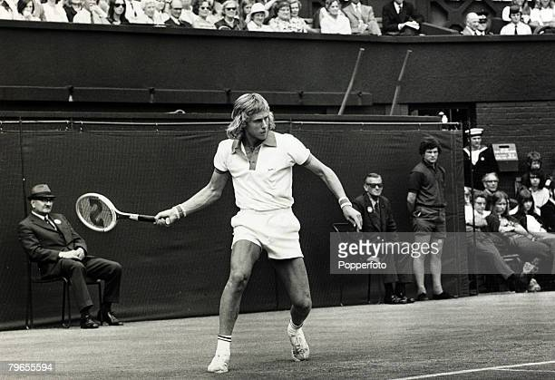 June 1973 Wimbledon Lawn Tennis Championships Sweden's Bjorn Borg in action at Wimbledon