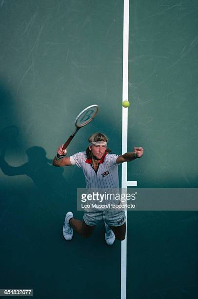 Swedish tennis player Bjorn Borg pictured in action during competition to progress to the quarterfinals of the 1979 US Open Men's Singles tennis...