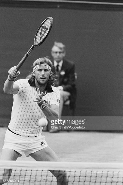 Swedish tennis player Bjorn Borg pictured in action in his fourth round match against American tennis player Vitas Gerulaitis at the Wimbledon Lawn...