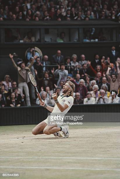 Swedish tennis player Bjorn Borg pictured kneeling on the ground as he wins the final of the Men's Singles tournament against John McEnroe 16 75 63...