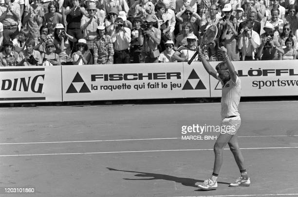 Swedish tennis player Bjorn Borg reacts after defeating Guillermo Vilas in the Men's French Open finals at Roland Garros in Paris 11 June 1978