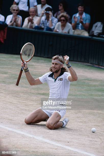Swedish tennis player Bjorn Borg sinks to his knees after defeating Roscoe Tanner to win the final of the Men's Singles tournament 67 61 36 63 64 to...