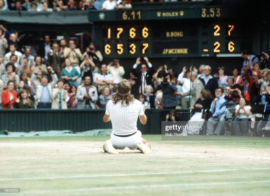 Wimbledon Lawn Tennis Championships, Men's Singles Final, Sweden's Bjorn Borg sinks to his knees after defeating USA's John McEnroe to win his fifth consecutive Wimbledon Championship