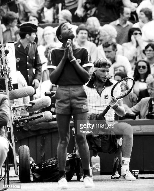 Swedish tennis player Bjorn Borg sits down between games during his Mens Singles Semi Final match against Jimmy Connors on Centre Court Wimbledon...