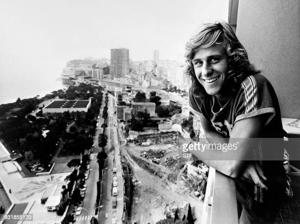 Swedish tennis player Bjorn Borg smiles from the balcony of his home in Monaco on January 1, 1975.