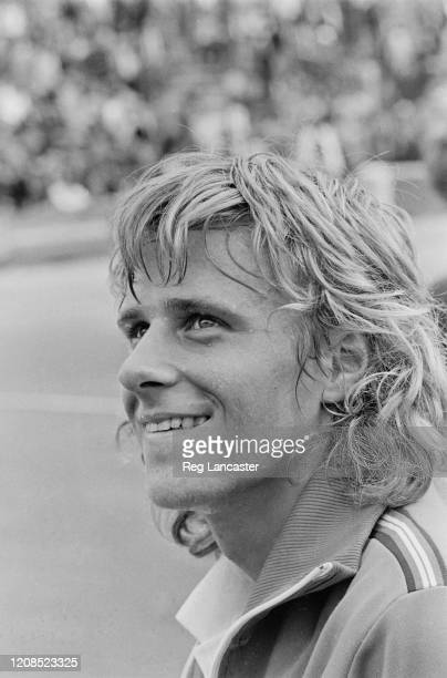 Swedish tennis player Bjorn Borg smiling during the 1973 John Player Tournament at the Nottingham Tennis Centre in Nottingham Nottinghamshire England...
