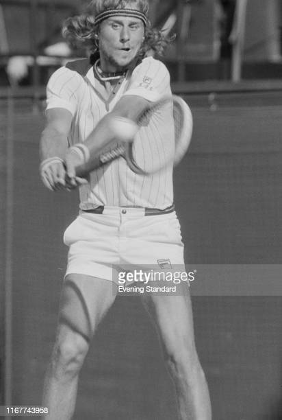 Swedish tennis player Björn Borg in action during the Men's Singles Semifinals at Wimbledon Championships London UK 5th July 1976