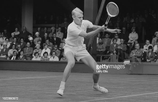 Swedish tennis player JanErik Lundqvist pictured during competition to reach the fourth round of the Men's singles tournament at the 1963 Wimbledon...