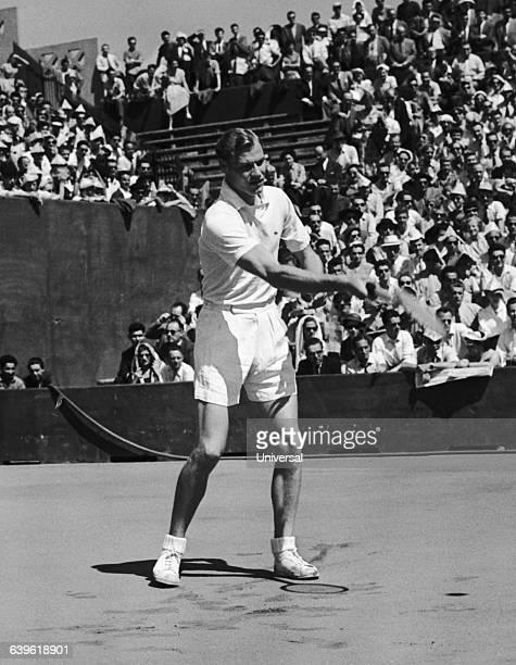 Swedish tennis player Lennart Bergelin during the 1954 French Internationals of Roland Garros