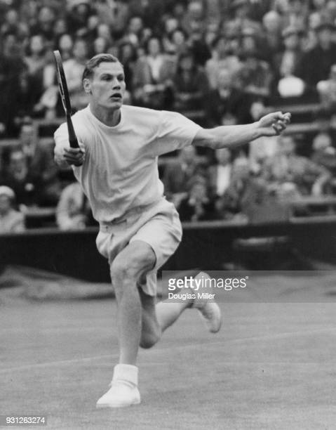 Swedish tennis player Lennart Bergelin in action against Giovanni Cucelli of Italy during the Wimbledon championships 28th June 1951