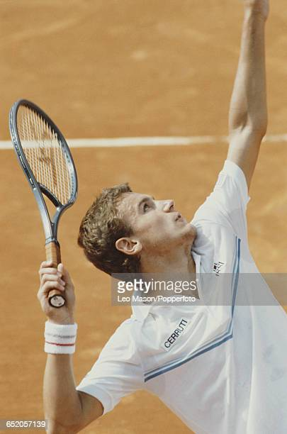 Swedish tennis player Mats Wilander pictured in action competing to reach the final to win the Men's Singles tournament at the 1983 Monte Carlo Open...