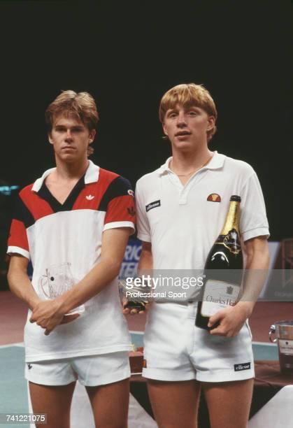 Swedish tennis player Stefan Edberg and West German tennis player Boris Becker pictured together after Boris Becker beat Edberg to win the Tennis...