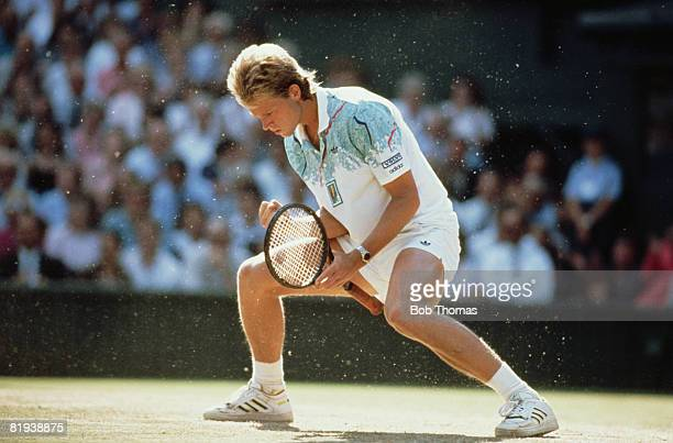 Swedish tennis player Stefan Edberg celebrates during action competing win the final of the Men's Singles tournament against Boris Becker of Germany...