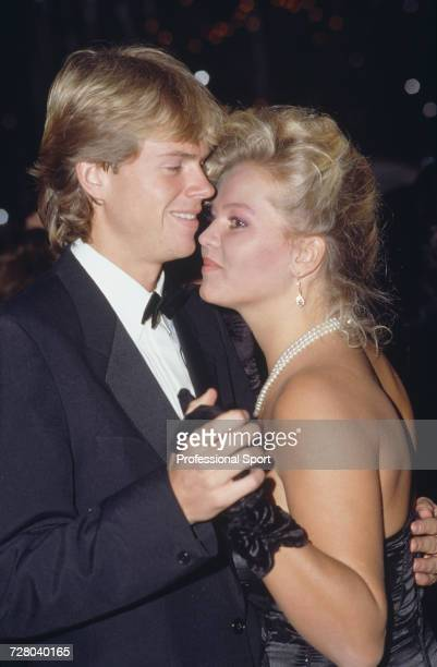 Swedish tennis player Stefan Edberg dressed in formal black tie dances with his girlfriend Annette Olsen at a professional tennis circuit event in...