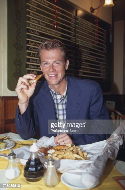 Swedish tennis player Stefan Edberg pictured eating fish and chips in newspaper at Geales fish restaurant in Notting Hill London in 1995