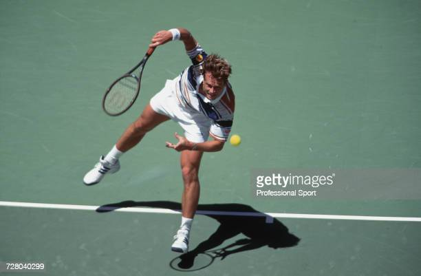Swedish tennis player Stefan Edberg pictured in action competing to reach the fourth round of the Men's Singles tournament at the 1995 Australian...