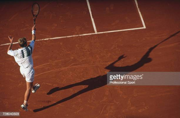 Swedish tennis player Stefan Edberg pictured in action competing to reach the fourth round of the Men's Singles tournament at the 1996 French Open at...