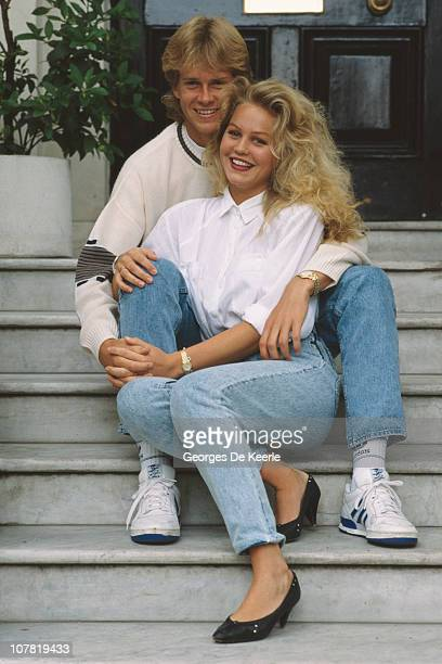 Swedish tennis player Stefan Edberg with his girlfriend Annette Olsen London 5th July 1988